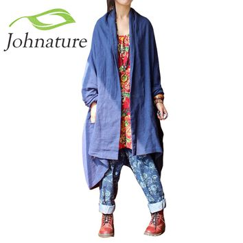 Johnature 2017 New Women Cotton Linen Retro Original Vintage Plus Size Maxi Long Sleeve Cardigan Leisure Loose Long Trench Coat