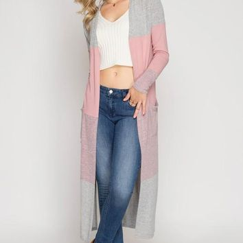 Color Block Maxi Cardigan - Pink