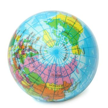 DCCKL72 New Arrival 1pc Toy Balls Earth Globe Stress Relief Bouncy Foam Ball Kids World Geography Map Ball Funny Toy Balls