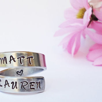 Personalized Name Ring - Personalized Ring - Custom Ring - Handstamped Ring - Name Ring - Mothers Ring - Adjustable Ring - Girlfriend Gift