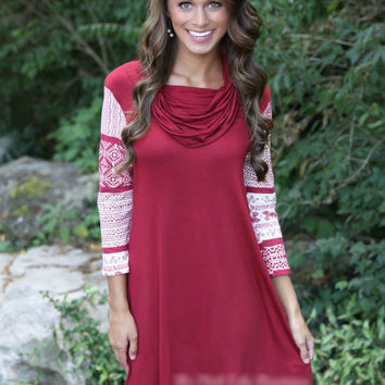 Red Wine Printed Cowl-Neck Sleeve Dress