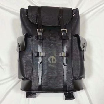 Supreme x LV co-branded classic water ripple hip hop street sports backpack F-MYJSY-BB black