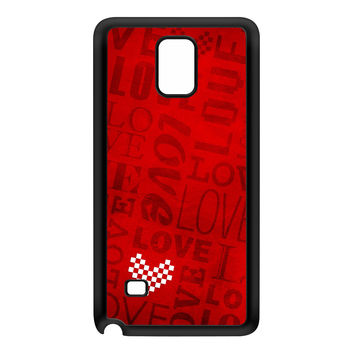White Heart on Red Love Typography Pattern Black Silicon Rubber Case for Galaxy Note 4 by UltraCases