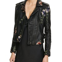 BLANKNYCStudded Embroidered Faux Leather Motorcycle Jacket - 100% Bloomingdale's Exclusive