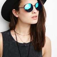 Oversized Round Mirrored Sunglasses