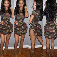 Women's Summer Short Sleeve Sexy Mini Green Camouflage Print Plus Size Dress