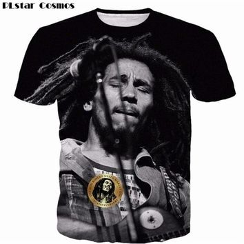 PLstar Cosmos Reggae Star Bob Marley Prints t shirts Men Women Popular Hip Hop Rock Style t shirts Hipster 3D t shirt Tees tops