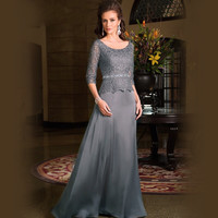 Nkeru Couture Plus Size Scoop Neck 3/4 Sleeves Chiffon Lace Gray Mother Of The Bride Dresses TY77