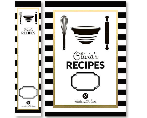 Modern Recipe Book Cover : Recipe binder cover and spine insert set from