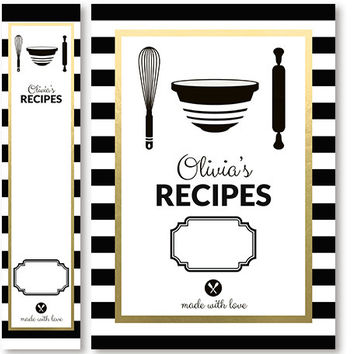 Recipe Binder Cover And Spine Insert Set Personalized Black White Stripe Printable Print Yourself Or Printed Recipe Book Modern