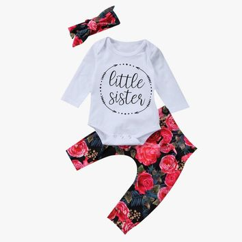 Cute Newborn Baby Girl Clothes Long Sleeve Little Sister Romper Tops+Floral Pant Legging Headband 3PCS Outfit Kids Clothing Set
