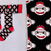 MONKEY SEE MONKEY DO, WOMEN'S KNEE-HIGH SOCK, SOCK MONKEY