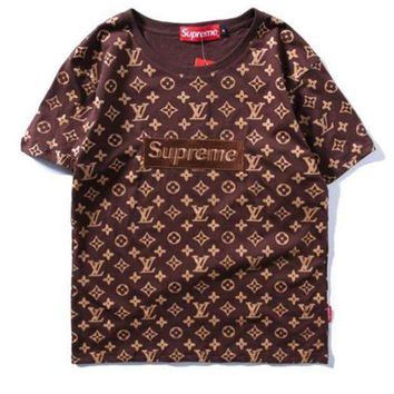 CREYKG5 Supreme x LV Fashion Print Embroider Short Sleeve Tunic Shirt Top Blouse