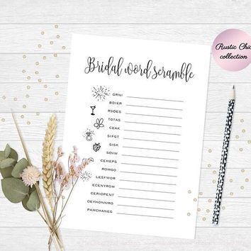 Printable bridal shower game, Word scramble game, Funny bridal shower game, Bridal shower party game, Bridal word scramble, Instant Download