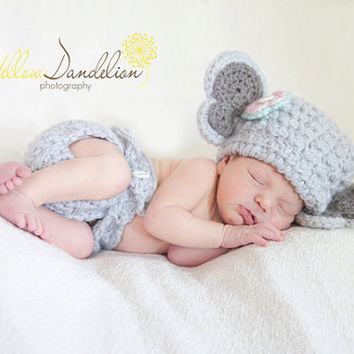 Elephant Hat and NB Diaper Cover by GiggledPink