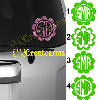 Personalized Scalloped Circle Monogram Decals - Glitter Vinyl or Regular Vinyl, Many Sizes
