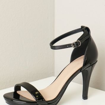 Ankle Strap Low Heel Patent Black