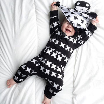 2017 New Fashion baby clothing set unisex Cotton Long Sleeve Cross Pattern Toddler Romper newborn baby boy girl clothes set