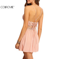 COLROVIE Sexy New Arrival Hot Sale Summer Women A Line Fashion Sleeveless Crisscross-Back Hollow Out Lace Up Mini Dress