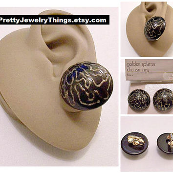 Avon Black Domed Buttons Clip On Earrings Gold Tone Vintage 1986 Sparkle Glitter Splatter Design Thick Lucite Big Discs