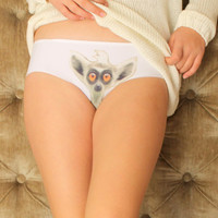 Women's Panties with lemur face, Bridesmaids gift, Lemur Design, Underwear, Christmas gift, Gift for her