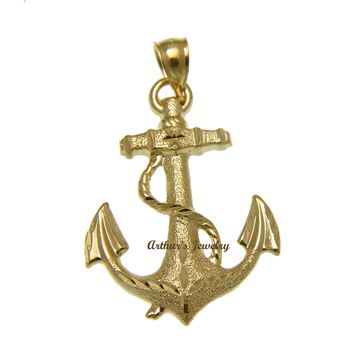 SOLID 14K YELLOW GOLD DIAMOND CUT ANCHOR ROPE CHARM PENDENT 25.30MM