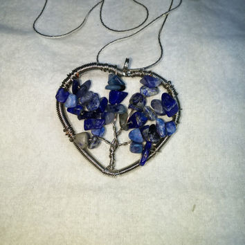 Sodalite Tree Of Life Heart Wire Wrap Silver Plated Necklace