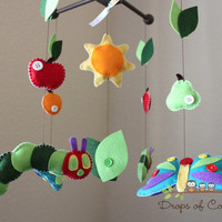 "Baby Crib Mobile - Baby Mobile - Nursery Caterpillar Butterfly Mobile ""Inspired by the Very Hungry Caterpillar"" Mobile - Crib Mobile"