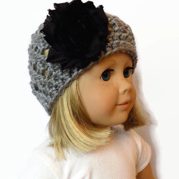 Doll Hat 18 Inch Doll Clothes Gray Doll Beanie Knit