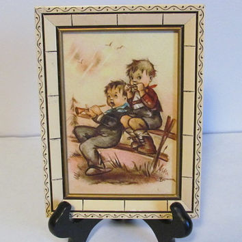 Set of Vintage Bonnie Prints Of Children In Hummel Style Wall Art Small Art Prints