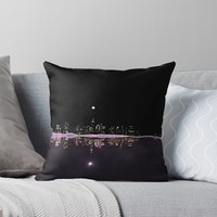 'Moonlight In The City Skyline Design' Throw Pillow by oursunnycdays
