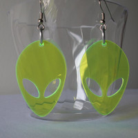 Totally Alien neon green dangle earrings - laser cut acrylic