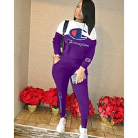 Champion new women's embroidery letter long sleeve sports suit two-piece Purple/white