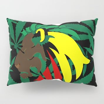 Reggae, Rastafarian - Iron, Lion, Zion, ganja, weed, pot, smoke background, legalize maryjane, music Pillow Sham by Peter Reiss