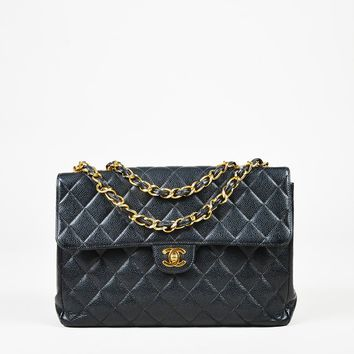 """Chanel Quilted Caviar Leather """"Maxi Classic Single Flap"""" Bag"""