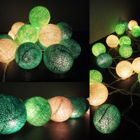 20 Mixed Green Tone Handmade Cotton Balls Fairy String Lights Home Decor