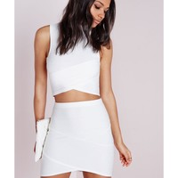Missguided - Bandage Asymmetric Hem Mini Skirt White