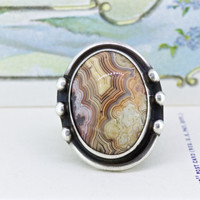 Vintage Sterling Silver Ring | Ocean Jasper Ring | Boho Rings | Statement Ring | Unique Silver Rings | Gemstone Ring | Size 7.5