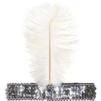 Silver/White Flapper Sequin Headband