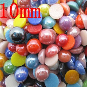 5-10mm Natural 3D Stone Beads 300Pcs Colorful Craft Domes Cabochon Flatback Cameo Beads for Jewelry Making DIY Scrapbooking