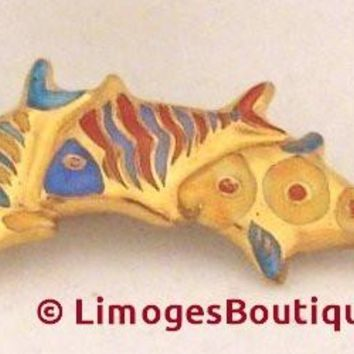 3 Fish Pin Jewelry Limoges Boxes
