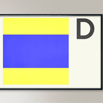 Naval Flag, Letter D, Nautical Flags, Naval Signal, Nautical Art, Nautical Sign, Navy Sign, Naval Flag, Maritime Flag, Beach Art