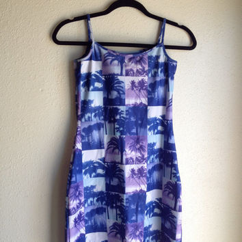 Photo Print Blue Palm Tree Beach Bathing Suit Mini Dress 90's