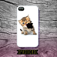 Cute iPhone Case for iPhone 4 or 4S  Kitten Eating by SpastiCase
