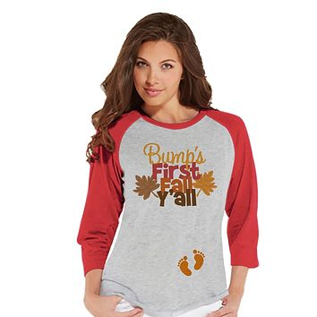 Custom Party Shop Womens Bump's First Fall Pregnancy Announcement Raglan Tee