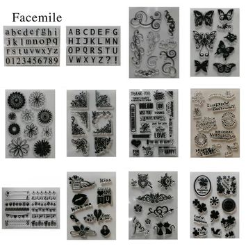 Gift 1PCS Silicone Letter Animal Flower Transparent Rubber Stamp For DIY Scrapbooking Card Making Decoration Supplies