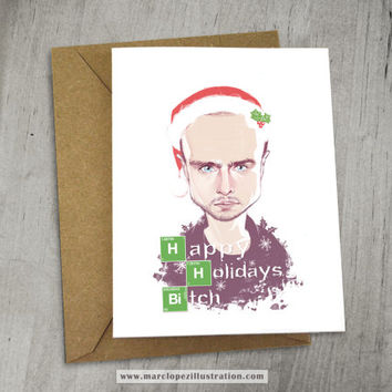 BREAKING BAD Holiday, Christmas Card, Jesse Pinkman, Aaron Paul, 6.5 x 5 Xmas Card, Kraft Envelope, Unique and Funny Gift Idea