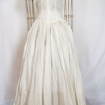 1950s Tea Length Eyelet Wedding Dress