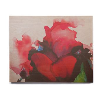 "Carol Schiff ""Ravishing Red"" Red Green Floral Abstract Painting Watercolor Birchwood Wall Art"