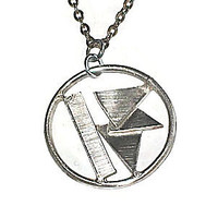 triple triangle sterling silver abstract pendant